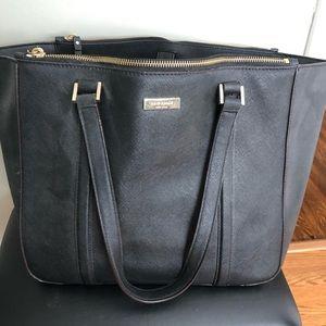 Large black leather Kate Spade work bag